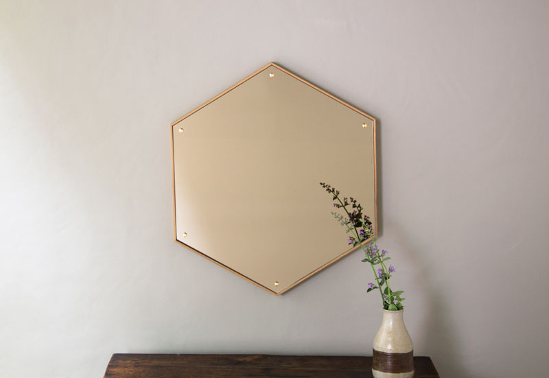 HEX Mirror : Minimal hexagon mirror with brass bolts