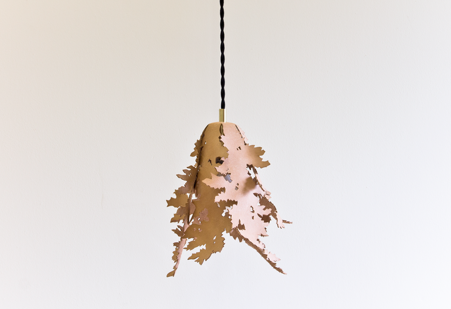Forest Lamp: Handmade Leather Pendant Light