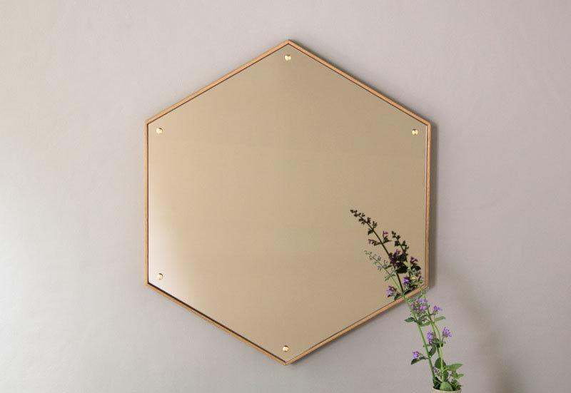 Hexagon Mirror - Oak Bronze Brass