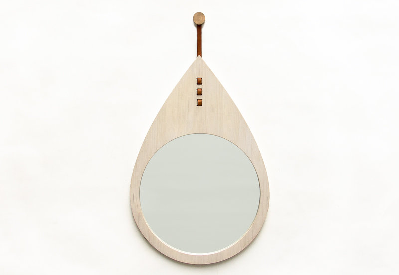 Drop Mirror Teardrop wood bronze leather