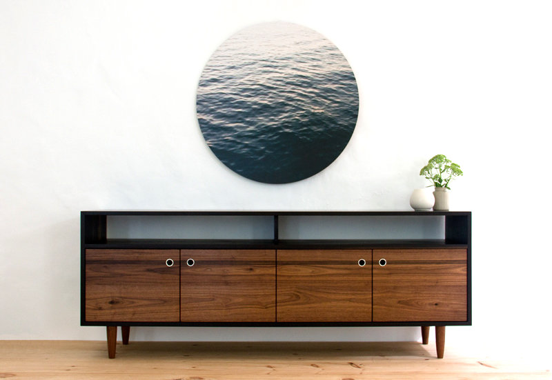 Burnt Media Console Large Walnut TV Stand Modern