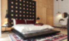 pat cu panou tapisat dormitor design interior ovidiu marian