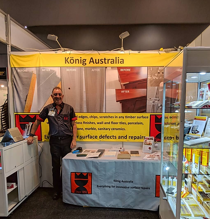 This is Greg Webster the Director of Konig Australia at he Desgin Build show in 2018. Here we discuss with new prospects about repairing damaged tiles, timber flooring, casesar stone, laminate benchtop and the many differnt contractors we have around Australia and New Zealand.