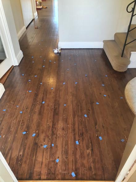 Stained Pine Flooring Repair - Before