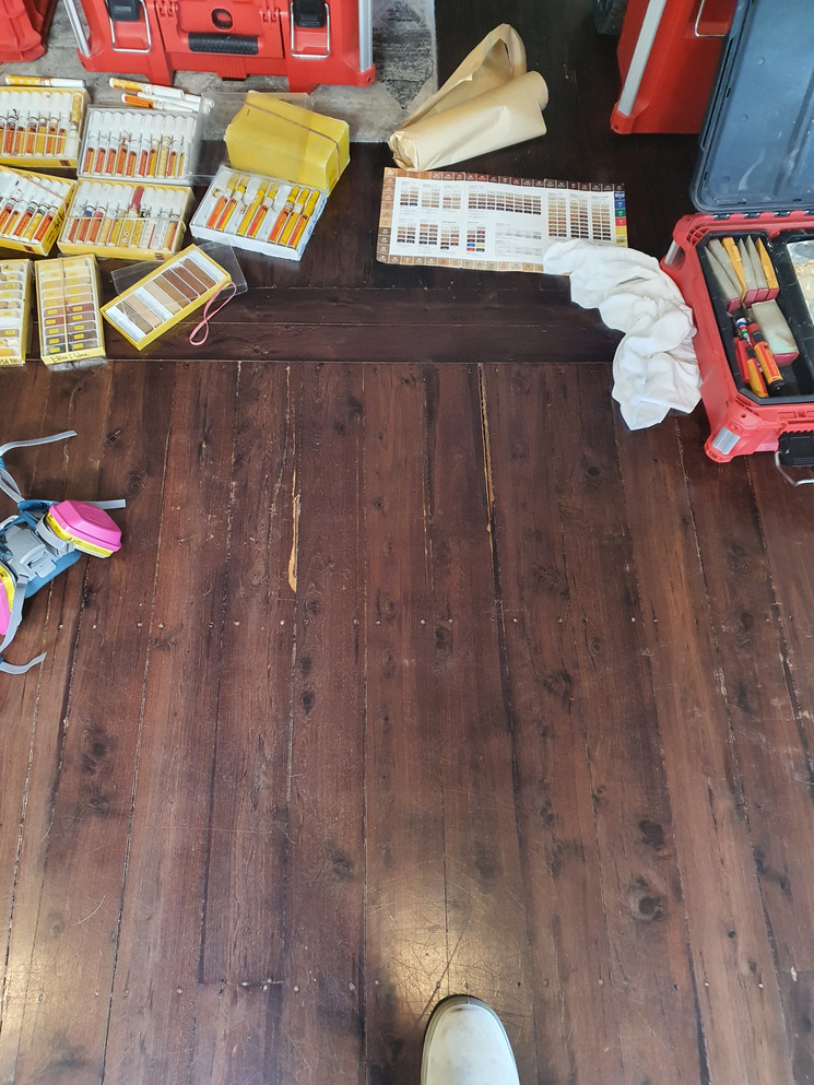 Stained Pine Flooring Spinter Boards - Before