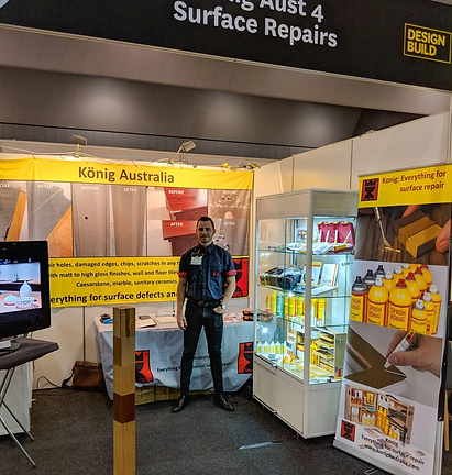 This is James Webste the Product and Training Specialist for Konig Australia. He is at th 2018 Desgin Build discussing konig training for Tiles, Timber and Stone.