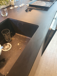 Black Porcelain Matt kitchen benchtop chipped edge repair - After