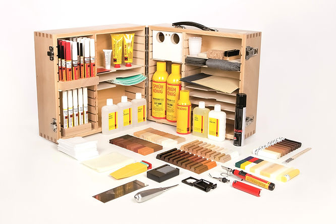 Universal 1 interior finish repair kits is the ultimate repair system for any contractor. It has nearly every product in the range to allow for any user to provide the highest quality of repairs on natural and artificial timber surfaces.
