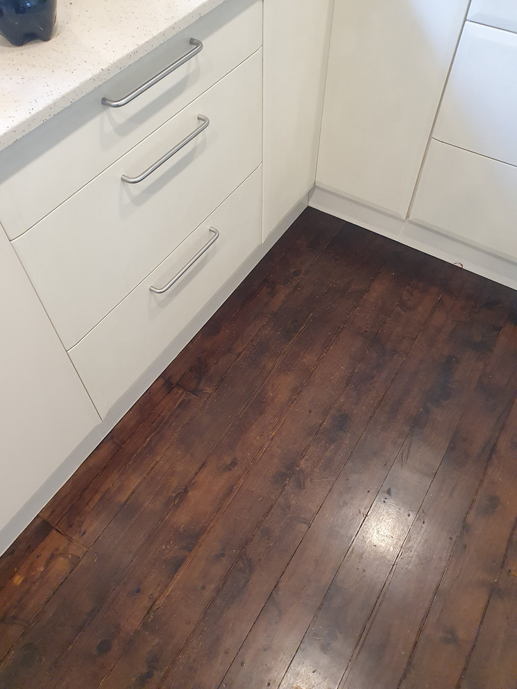 Stained Pine Flooring Spinter Boards - After