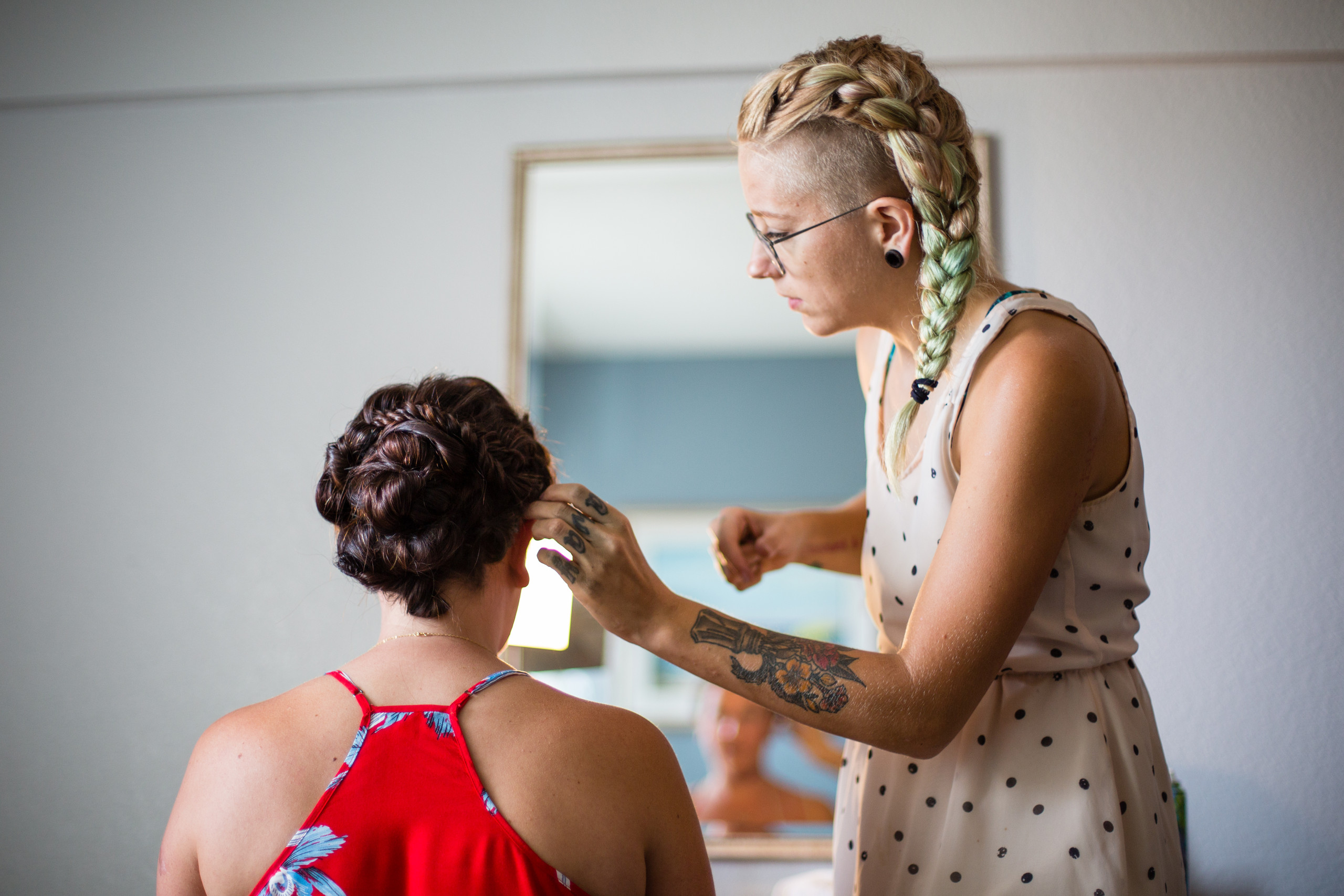 Salt Hair doing brides hair at the Kitty Hawk Hilton