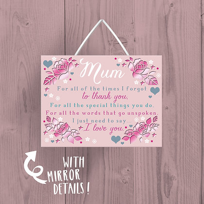 Mum, Wooden Plaque