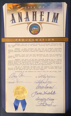 Proclamation from the City that Grant Hier is Anaheim's first Poet Laureate and Literary Ambassador