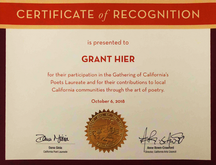"""California Arts Council Certificate of Recognition for """"contributions to local California communities through the art of poetry"""" 