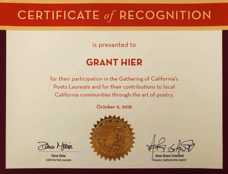 """California Arts Council Certificate of Recognition for """"contributions to local California communities through the art of poetry""""   6Oct2018"""
