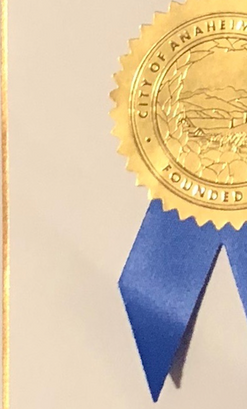 Seal of the City of Anaheim on Poet Laureate proclamation