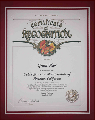 California State Senate Certificate of Recognition for Public Service as Anaheim's Poet Laureate   6Oct2018