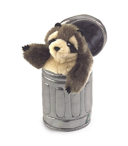 Raccoon in Garbage Can Hand Puppet - Folkmanis