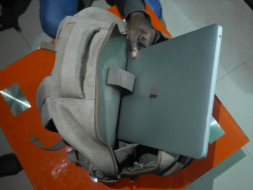 How to pack your MacBook in a BackPack, make sure the charger is on the back side of the laptop.