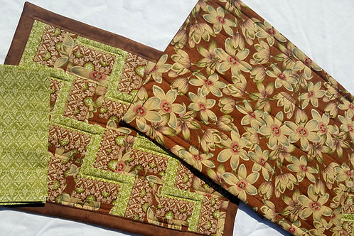 Quilted Place-Mat and Napkin - Rail Fence