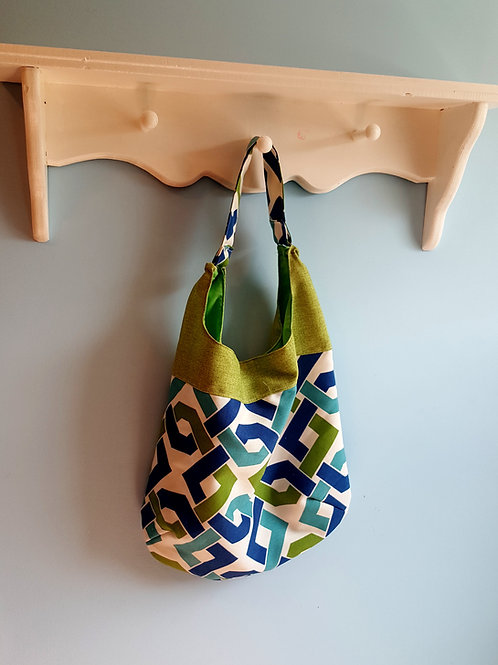 Slouch Bag - Green and Blue Chain