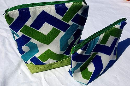 Green & Blue Woven Zipper Pouches