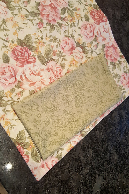Place-Mat and Napkins - Pinks and Greens