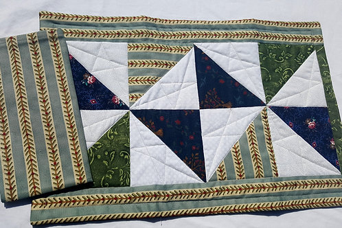 Half Triangles Many Ways, Quilted Place-Mats and Napkins