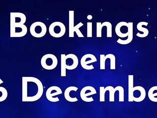 Bookings open 16 December