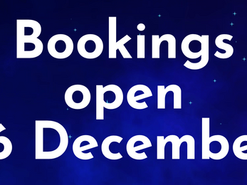 Bookings open 16 December
