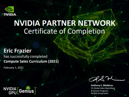 Chief Operating Officer Completes NVIDIA Compute Sales Certification