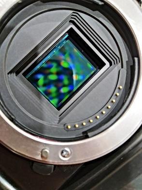 The matrix sensor of the camera closeup.