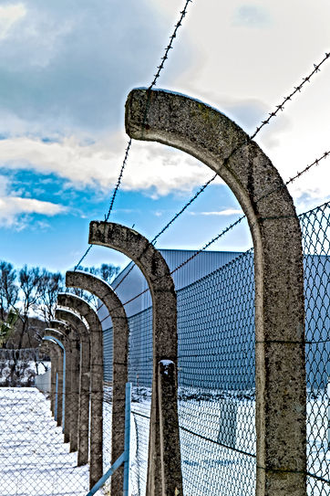 Restricted area - fence with barbed wire