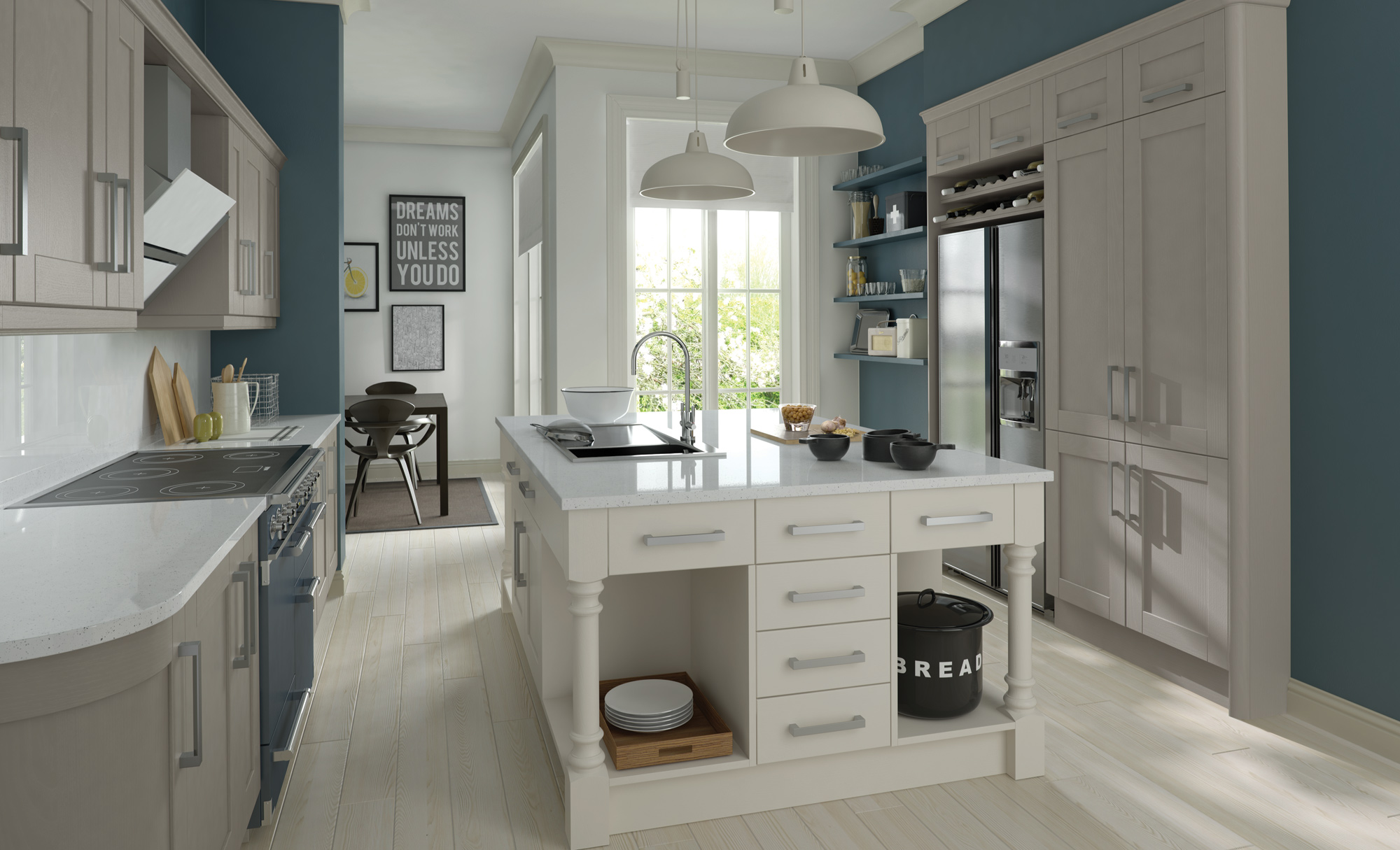 Solid Shaker Painted Stone & White