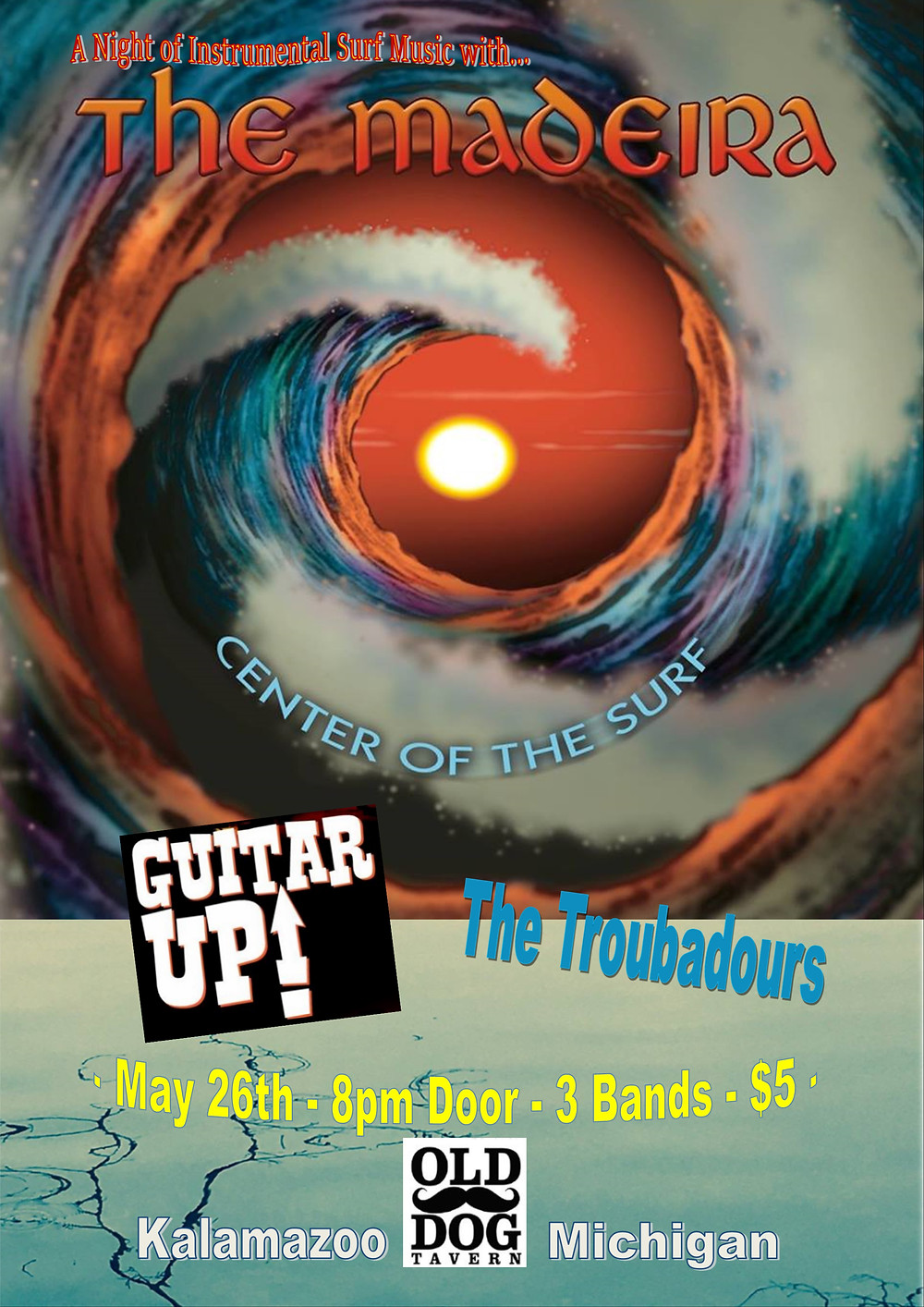 Guitar UP! will be opening for the Madeira, a renowned modern surf band from Indianapolis, on May 26th at Old Dog Tavern.  Kalamazoo, MI