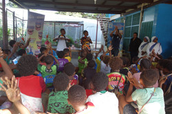 Children shown demonstration of washing