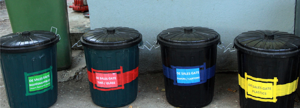 4 main waste bins segregated with color