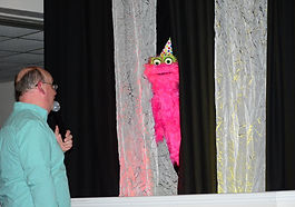 Pastor with Puppets Toccoa Church.