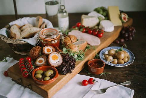 Dartmouth, Banquet Boat, Traditional Rustic Picnic, The ultimate floating picnic with home cooked Scotched Eggs, Honey Roast Ham, Pork Pie, Local Cheeses with Breads, Olives, Pickle, Chutneys and Salad