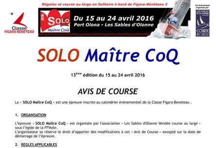 Solo Maitre CoQ 2016 : Avis de course et inscription en ligne