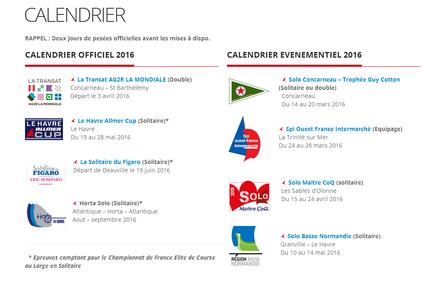 INFO : le calendrier 2016 de la Classe Figaro-Bénéteau dévoilé.