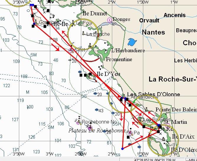 Parcours de la grande course au large de 350 milles nautiques