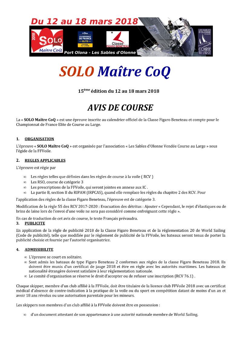 Avis de course Solo Maître CoQ 2018