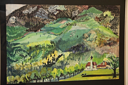Myra Elias painting: Salzburg--Mountain View with Church