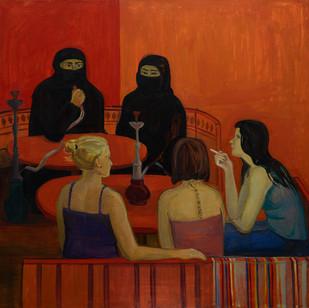 Кафе на Найма Бэй / Cafe on Nayma Bay, 2012 холст, масло, акрил  canvas, oil, acrylic 130 х 130
