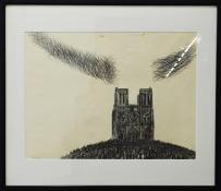 """Иллюстрации к В. Гюго """"ГРОЗНЫЙ ГОД"""", 1985  бумага, карандаш  41 х 56"""