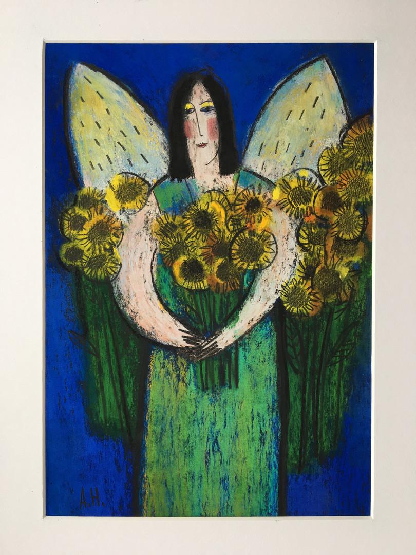 Нелли Акчурина Ангел с подсолнухами.  картон, сухая пастель 30 х 21  Est. 15 000 rub