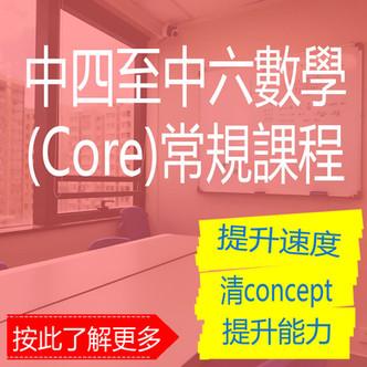 數學補習課程 中四至中六數學(Core)常規課程