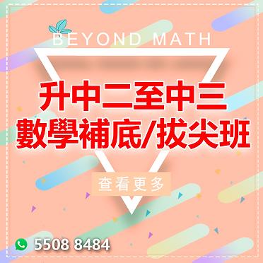 數學暑期課程 中二至中三 數學補底 / 拔尖班