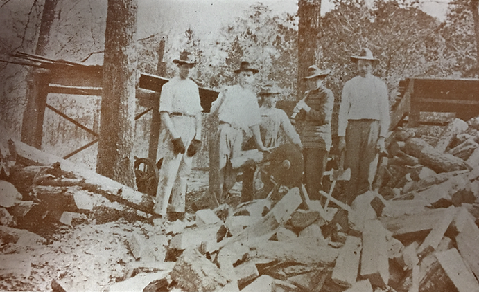 reinhardt students cutting lumber croppe