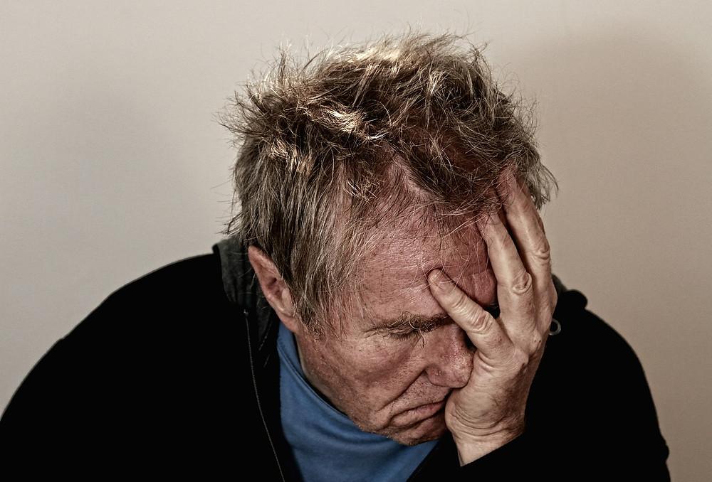 Man in distress and feeling despair